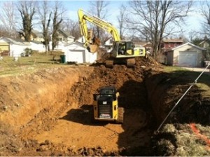 Excavating for a Habitat for Humanity house in Madisonville.