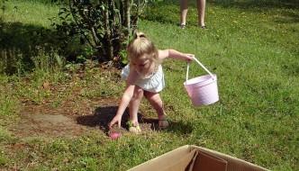Girl hunting Easter Eggs, Baton Rouge, Louisiana.