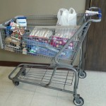Grocery Cart with Food Donations