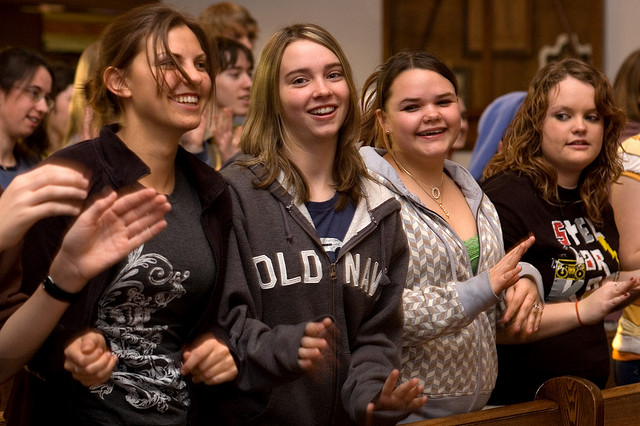 Teen Girls in Church