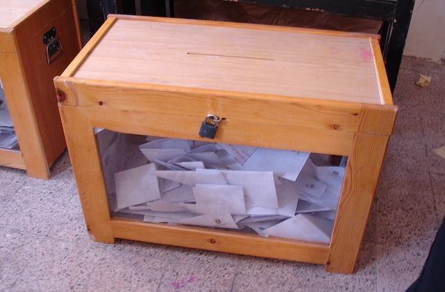 Ballot box at Kowmia language school polling station at Agouza, Giza