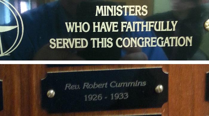 Rev. Robert Cummins - name plaque