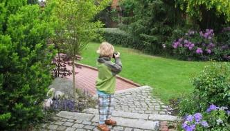 Boy Photographing Garden