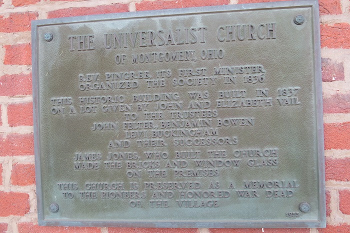 Plaque a the Universalist Church of Montgomery, Ohio