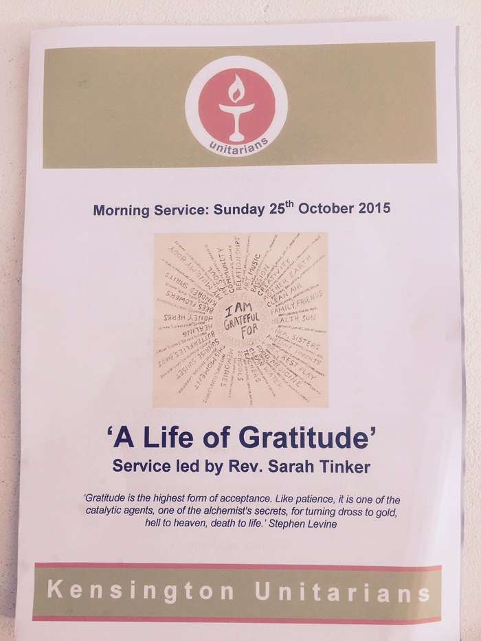 Kensington Unitarians (London, England) Order of Service Cover