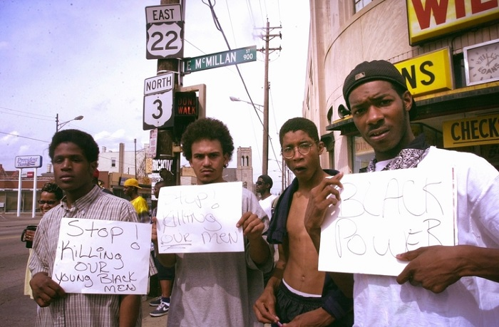 Black Men with Signs