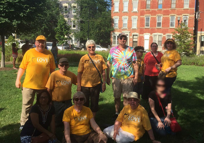 """UUs from Heritage UU Church and The Gathering at Northern Hills participate in the """"Enough is Enough"""" rally in Cincinnati on July 10, 2016."""