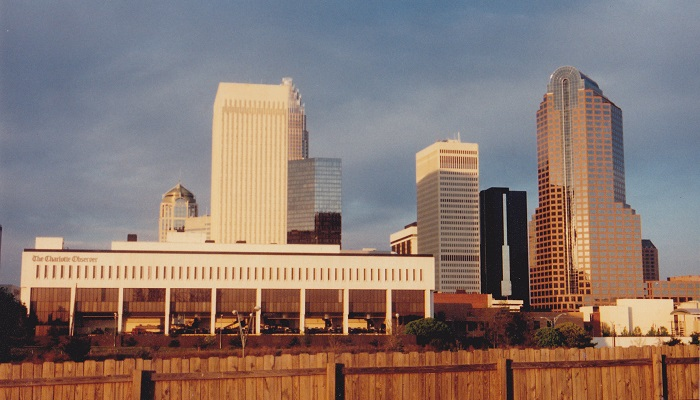 Charlotte skyline in the early 1990s