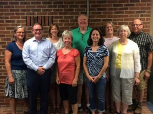 Heritage UU Church Board of Trustees, 2016-17. From left to right: Andrea Dale, John Murley, Jill Beyette, Joann Meyer, Forrest Brandt, Heather Wasco, Donna Buckley, Louise Lawarre, and John Burroughs.