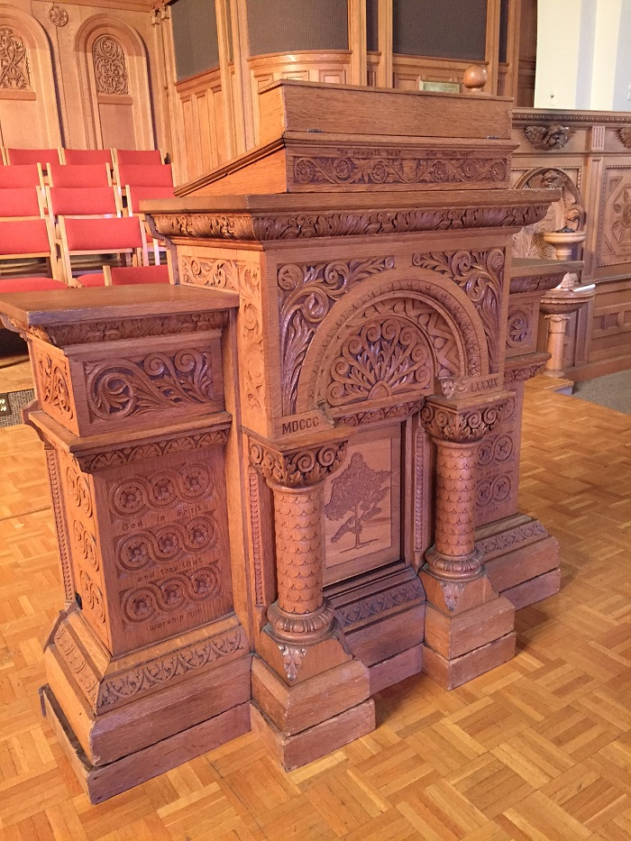 Pulpit inside the First Unitarian Church, Cincinnati, Ohio