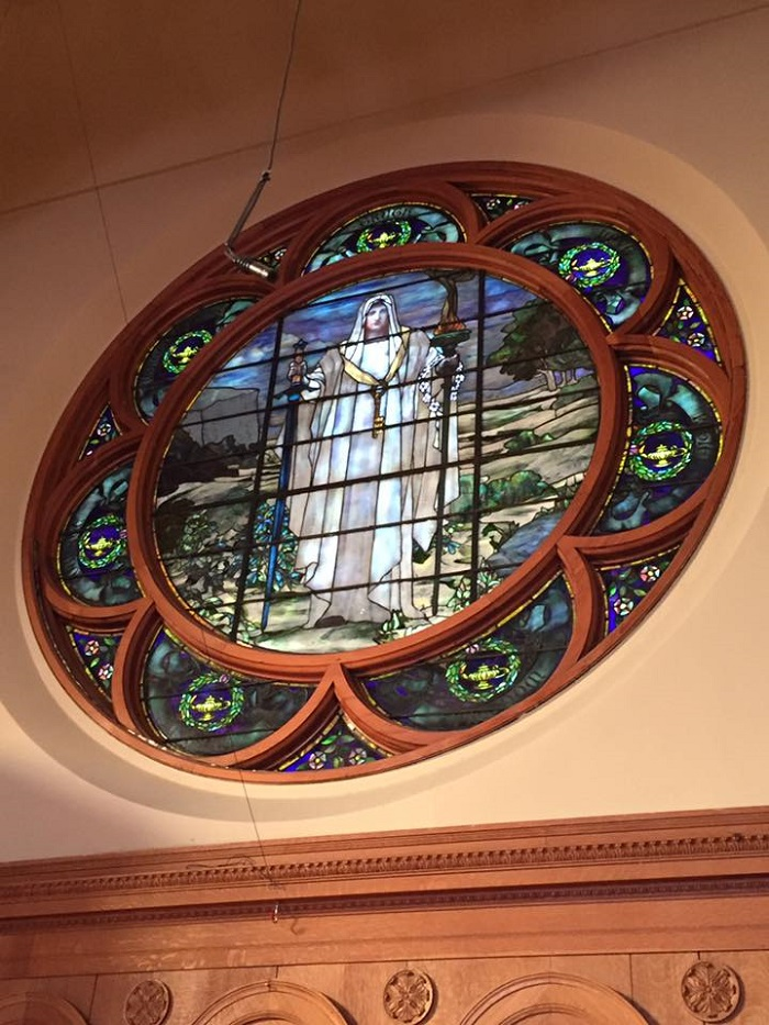 Stained glass window in the First Unitarian Church, Cincinnati, Ohio