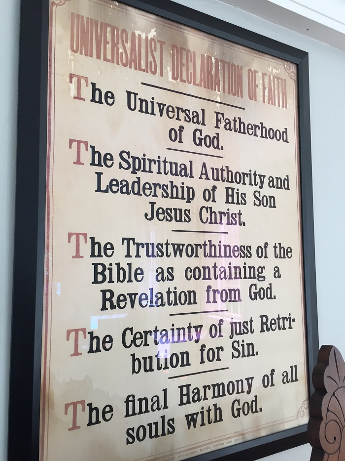 Declaration of Faith inside Universalist Church Building, Montgomery, Ohio