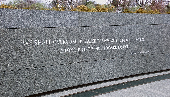 """The """"arc of justice"""" quote on the southern granite wall of the Martin Luther King, Jr. Memorial in Washington, D.C."""