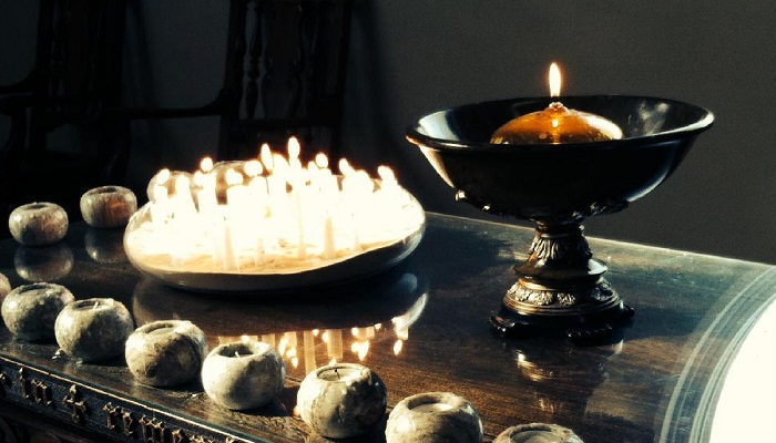 Altar and Candles on All Souls Day Remembrance 2014