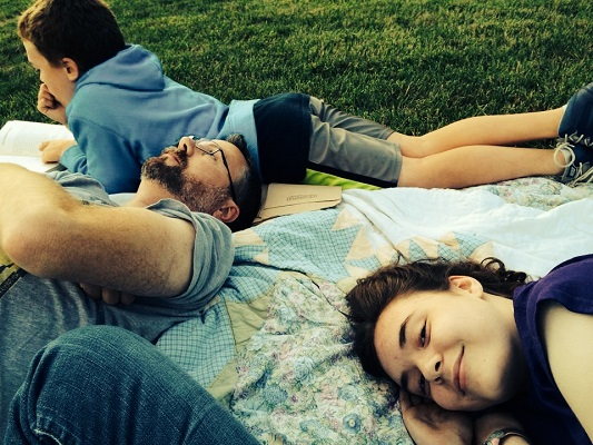 Family on a Blanket Outside