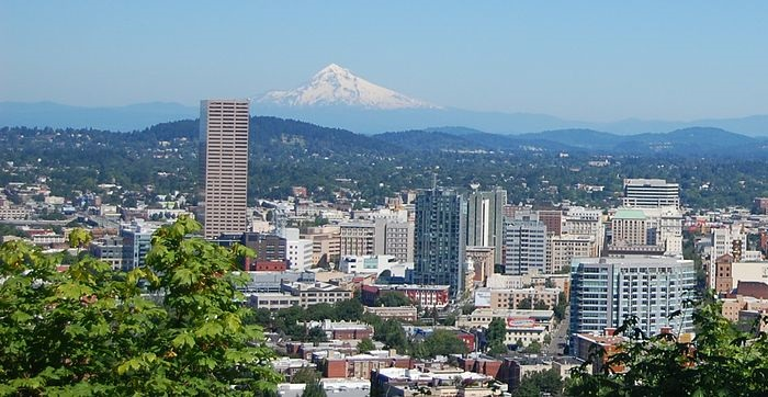 Portland Oregon, site of the 2015 UUA General Assembly. In the background is Mt. Hood.