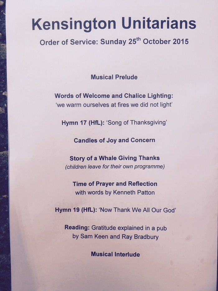 Kensington Unitarians (London, England) Order of Service page 1