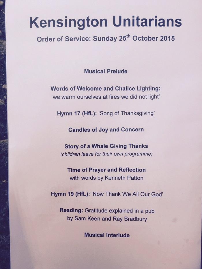Kensington Unitarians (London, England) Order of Service page 1