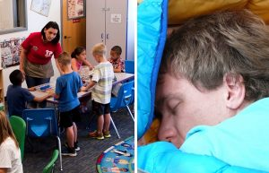 Two pictures. The one at the left shows a woman at a table of children working with crafts. The one on the fight shows a man sleeping in a sleeping bag.