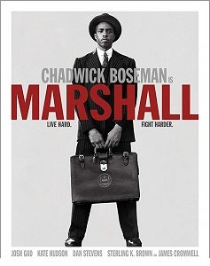 """Movie poster of a young Aftican-American with a briefcase, and the movie title """"Marshall"""""""