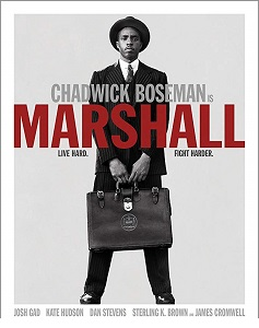 "Movie poster of a young Aftican-American with a briefcase, and the movie title ""Marshall"""