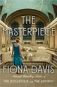 """A book cover with the words """"The Masterpiece ~ A Novel ~ Fiona Davisa"""" The cover image is of the back of a woman looking at a large, ornate room, with something bright in the center."""