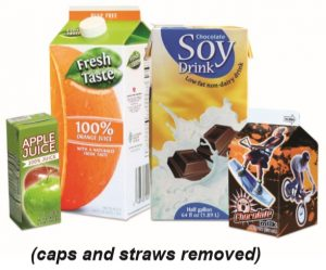 "The words ""Cartons (caps and straws removed)"" with picture of example food cartons."