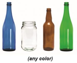 "The words ""(any color)"" with pictures of glass bottles and jars of various colors."
