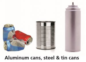 "The words ""Aluminum cans, steel & tin cans,"" with pictures of these."