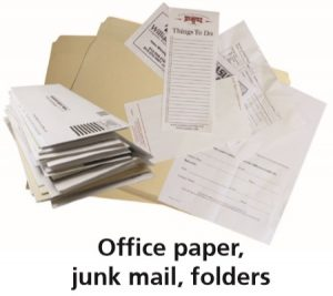 "The words ""Office paper, junk mail, folders,"" with a photograph of these."