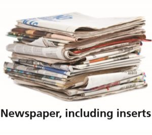"The words ""Newspapers, including inserts,"" and a picture of a stack of newspapers and inserts."