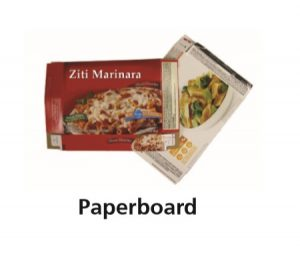 "The word ""Paperboard"" and an example of two products that are sold in paperboard boxes."