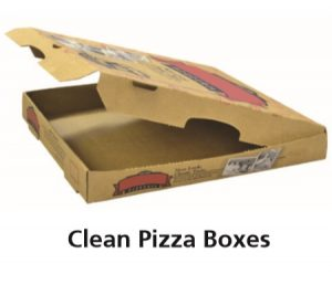 "The words ""Clean Pizza Boxes"" and a picture of an assembled pizza box with no food stains."