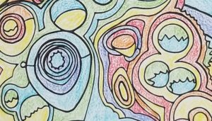 Close-up of an abstract adult coloring page, with colors