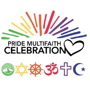 "The words ""Pride Multifaith Celebration"", with a heart symbol and symbols from six different religions."