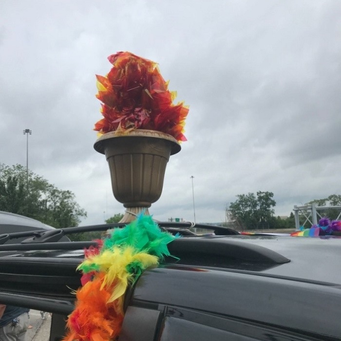 Flaming Chalice on Pride Parade Float