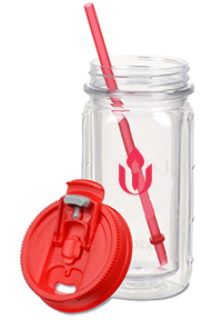 A clear, plastic, reusable water bottle with a lid and reusable straw. The UUA logo is on the bottle.